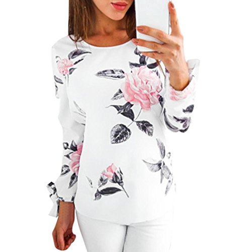 Blouse Print Rose (Tloowy Clearance! Women Elegant Tie Cuff Rose Floral Print Blouse Tops Long Sleeve Pullover Shirt (White, XXL))