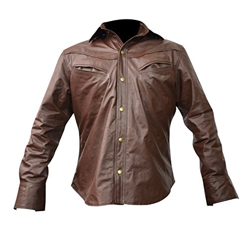 Men's Brown Genuine Leather Shirt Fashion Casual Snaps Shirts Lll-433Br (XX-Large) - Brown Mens Shirt