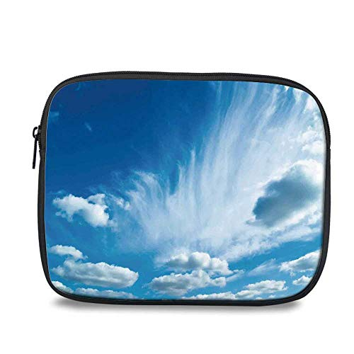 Sky Decor Durable iPad Bag,Sky with Floating Thin Layer of Clouds Summer Time Sunny Atmosphere Picture Decorative for iPad,10.6