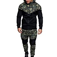 Men Sport Coat,Todaies Men's Autumn Winter Camouflage Sweatshirt+Pants Sets Sports Suit Tracksuit