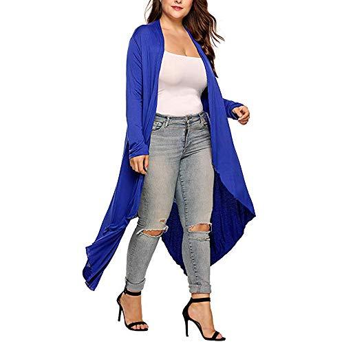 Baigoods Women's Plus Size Long Sleeve Waterfall Asymmetric Drape Open Long Maxi Cardigan