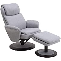 Mac Motion Recliner with Matching Ottoman in Rio Grey Fabric with Apline Frame