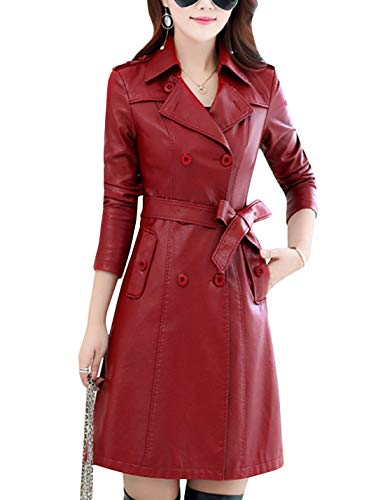 Tanming Womens Fashion Lapel Double Breasted Lambskin Leather Mid Long Jacket Coat (Wine Red, Small)