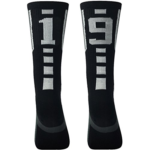 (Black Over Calf Athletic Sports Socks, Comifun Mens Rugby Volleyball Custom Team Number Mid Calf Crew Socks,Over 18 Ages, 1 Pair,Black/White,19