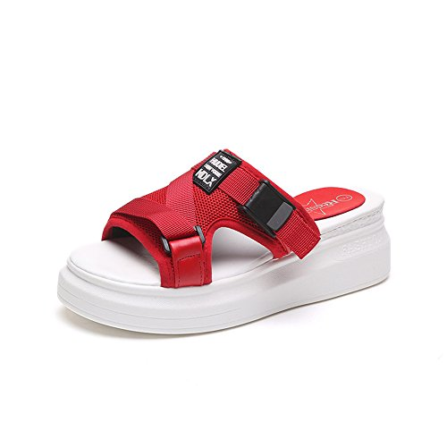Everyday Red Shoe High Slide Sandals Sandal Slip Comfortable Block Heel Heel On Wheeler Queena Slipper Trendy UqY44F