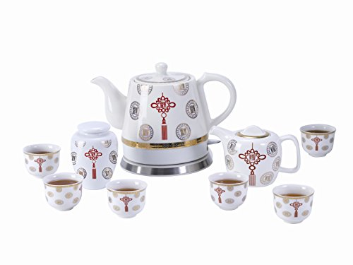 (FixtureDisplays Teapot Ceramic Asian Theme w/110V Warming Plate 10pc, Gift, Buffet,Hotel 1089TE 12028 12028)
