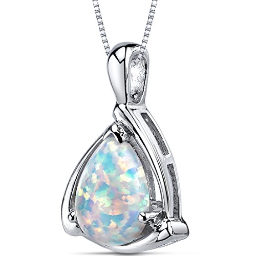 Created Opal Pendant Necklace Sterling Silver Pear Shape 1.50 Carats