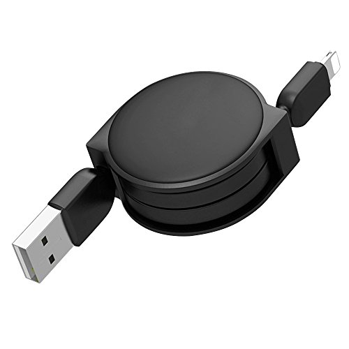 Price comparison product image ReFaXi Retractable iOS Lightning USB Data Cable Charger Sync Cord for iPhone X 8 7 Plus (Black)