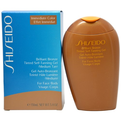 Shiseido Brilliant Bronze Tinted Self-Tanning Gel for Unisex, Medium Tan, 5.4 Ounce
