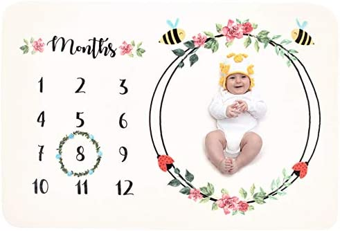 Baby Monthly Milestone Blanket for Girl Boy Fleece Floral Unisex New Baby Twins Swaddle Shower Gift Photo Props Personalized Photography Backdrop for Newborn Infant Month Growth Pictures