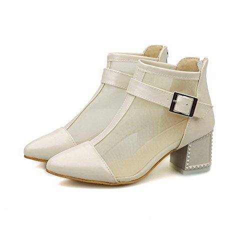 Allhqfashion Mujeres Soft Material Acentuado Cerrado Toe Kitten-heels Zipper Sandalias Sólidas Albaricoque