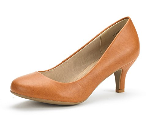 DREAM PAIRS Women's LUVLY Tan PU Bridal Wedding Low Heel Pump Shoes - 8 M US (Women Tan Pump)