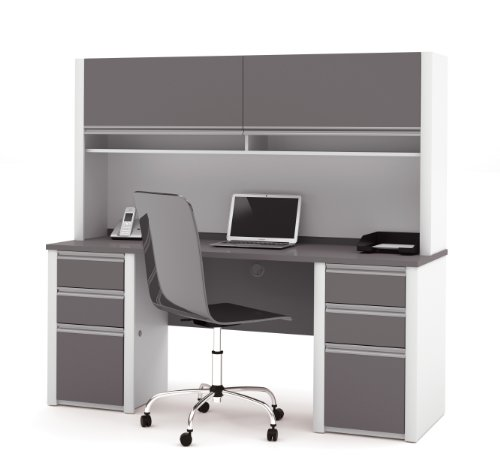 Bestar Connexion Office Credenza and Hutch with 2 Pedestals in Slate and - Keyboard Connexion Bestar