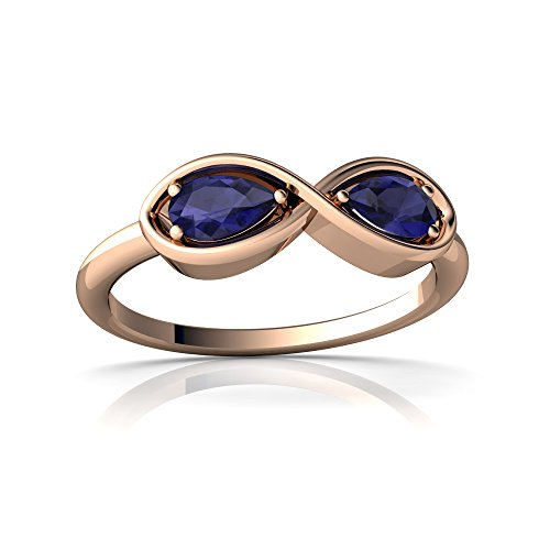 14kt Rose Gold Sapphire 5x3mm Pear Infinity Ring - Size 8.5 ()