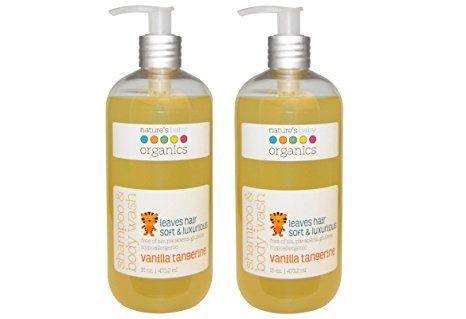 Nature's Baby Organics Shampoo & Body Wash, Vanilla Tangerine, 16 oz (2-Pack) Babies, Kids, & Adults! Natural, Moisturizing, Soft, Gentle, Rich, Hypoallergenic | No Chemicals, Parabens, SLS, Glutens