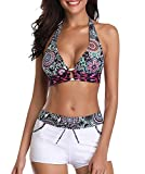Zando Women's Swimsuits Halter Back Push Up Bikini Bathing Suits with Boyshorts Two Pieces Retro Swimsuit Swimwear Floral White Large