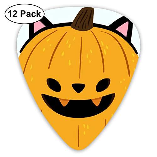 Cute Halloween Cartoon Cat Ears Pumpkin Bendy Ultra Thin 0.46 Med 0.73 Thick 0.96mm 4 Pieces Each Base Prime Plastic Jazz Mandolin Bass Ukelele Guitar Pick Plectrum -