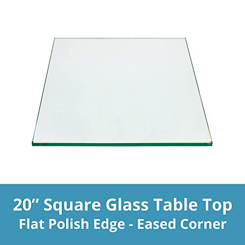 Square Glass Table Top 20 Inch Custom Annealed Clear Tempered, ¼