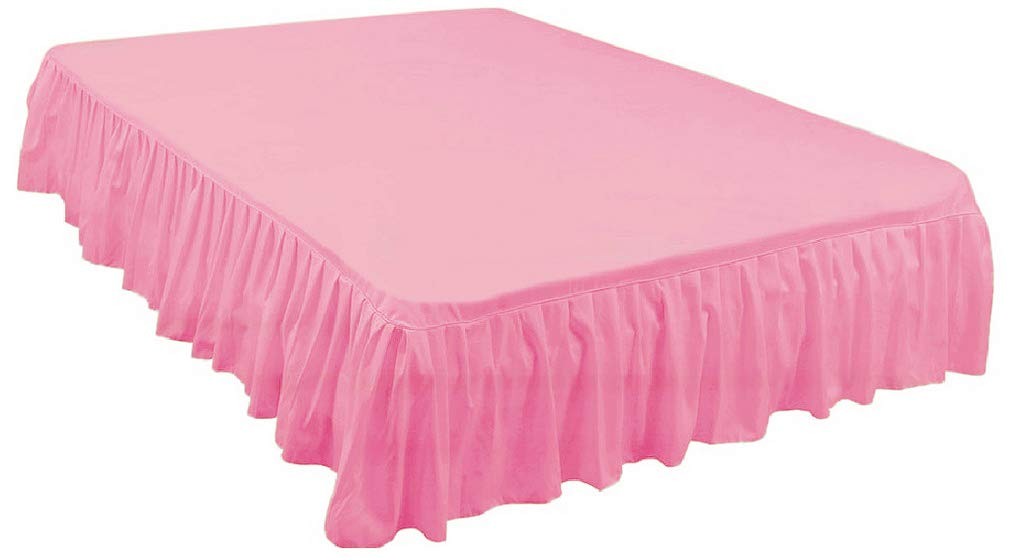 The Great American Store Easy Fit Gathered Style Ruffled Bed Skirt with 16 Inch Drop Length (Full Size, Solid Blush) 1500 Series Brushed Microfiber - Covers Bed Legs & Frame