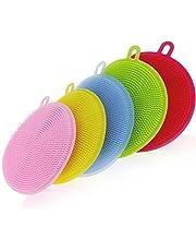 YOMYM Silicone Scrubber, Silicone Sponges Multipurpose Kitchen Scrub Brush for Dish Pot and Veggies Fruit Non-Stick Pan 4 Colors