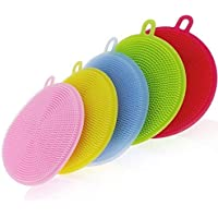 YOMYM Silicone Scrubber, Silicone Sponges Multipurpose Kitchen Scrub Brush for Dish Pot and Veggies Fruit Non-Stick Pan…
