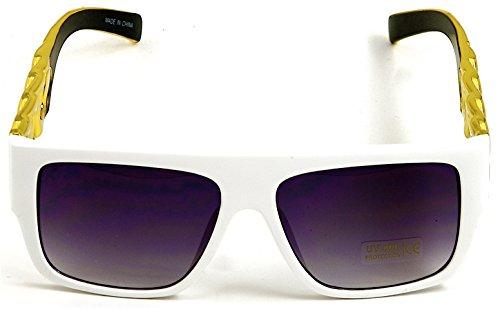 GWOOD Flat Top Shades Plastic Sunglasses Vintage Classic Link Chain WT/G/BK
