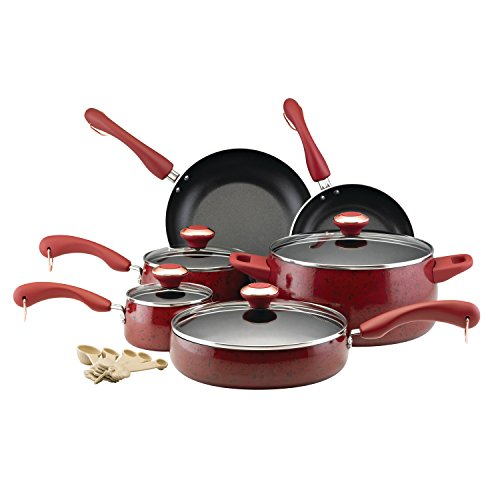 Paula Deen Signature Collection Porcelain Nonstick 15-Piece Pots and Pans Cookware Set, Red Speckle