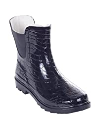 Women Rubber Rain Boots, 7'' Low Ankle Elasticized Sides Booties