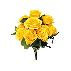 Sweet Home Deco 18'' Princess Diana Rose Silk Artificial Flower Valentine's Day (10 Stems/10 Flower Heads), The Most Beautiful Roses for Wedding/Home Decor (Yellow) 45