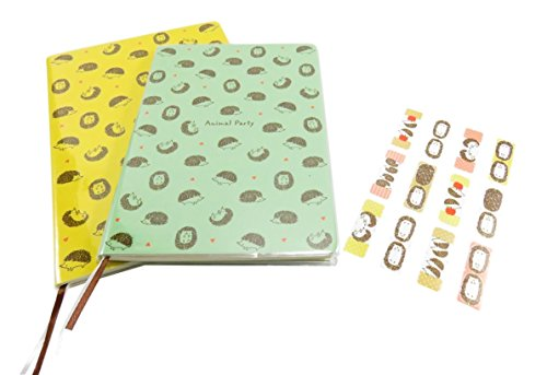 kawaii-hedgehog-gift-set-notebook-journal-diary-ruled-pages-with-animal-sticker-marker-memo-flags-in