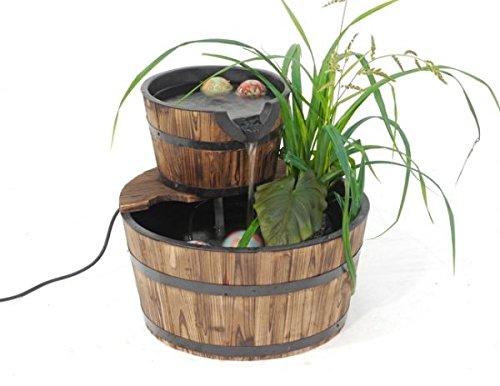 Brunnen Holzbottich doppelt /Gartenteich Holz mit elektrischer Pumpe 44cm x 41cm