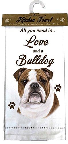 E&S Pets 700-8 Bulldog Kitchen Towels, Off-white 1