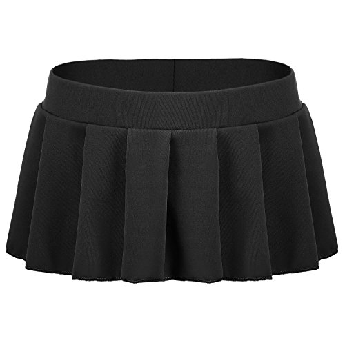 Avidlove Sexy Role Play Pleated Solid Mini Skirt Lingerie Sleepwear Black,XX-Large