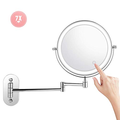 Himimi Bazal 7X Wall Mounted Makeup Mirror, Double Sided Swivel Vanity Mirror, Touch Button Adjustable Light, Stainless Steel, Shaving in Bedroom or Bathroom, 8 inch, 4 x AAA Batteries (not Included) ()