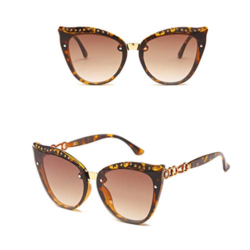 ousifanersty Fashion Women Retro Metal Frame Eyeglasses Cat Eyes Gradient Diamond Spectacles Eyewear Versatile ()