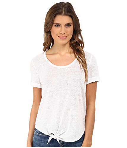 - C&C California Women's Roll Sleeve Tee w/ Side Tie Detail Optic White T-Shirt XS (US 0-2)