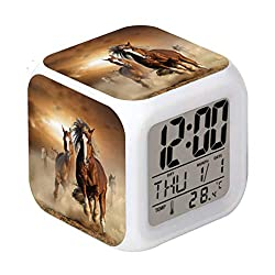 Cointone Led Alarm Clock Horse Design Creative Desk Table Clock Glowing Electronic Colorful Digital Alarm Clock for Unisex Adults Kids Toy Birthday Present