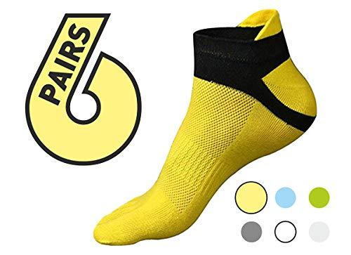 Yoga Socks yellow 6 pack - Five Gold Toe Yoga Socks Women Man - Pilates Fit Socks