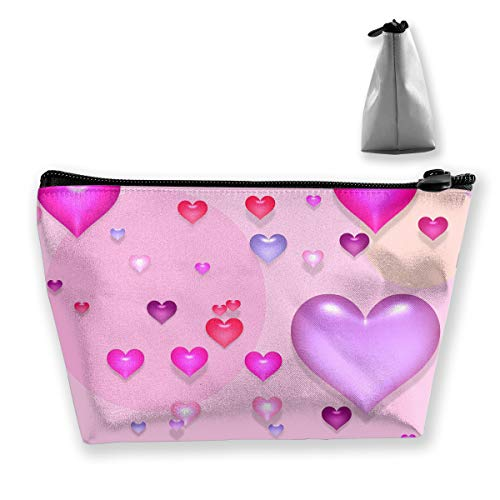 Makeup Bag Cosmetic Cute Cartoon Love Portable Cosmetic Bag Mobile Trapezoidal Storage Bag Travel Bags with Zipper
