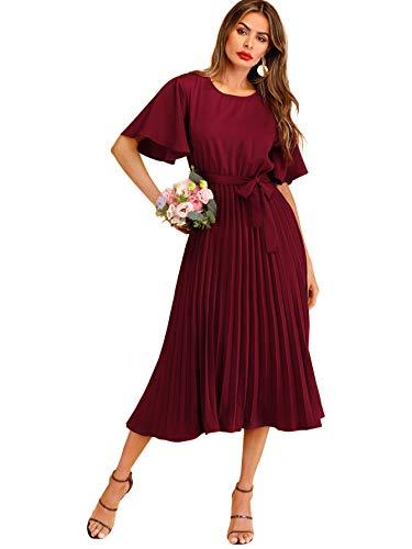 Milumia Women's Elegant Belted Pleated Flounce Sleeve Long Dress Burgundy M