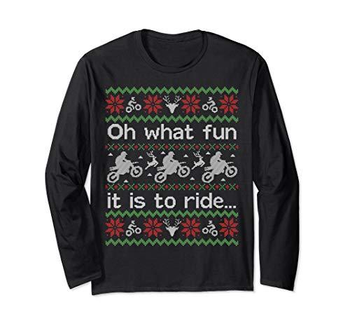 Long Funny Sleeve Dirt - LONG SLEEVE SHIRT Funny Ugly Sweater Christmas Dirt Bike
