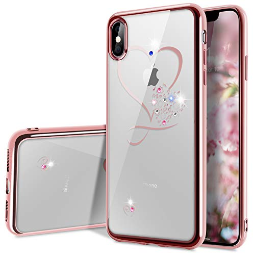 (Crystal iPhone Xs Case, Clear iPhone X Case,WATACHE Glitter Sparkly Diamonds Sweet Love Heart Ultra Slim Durable TPU Gel Case with Electroplated Frame for iPhone Xs/X-Rose Gold)