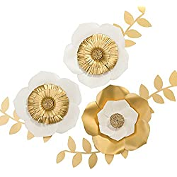 """Ling's moment 3D Gold Paper Flowers, Large Handmade Paper Flower Set, Paper Flower Decorations for Wall, Nursery, Bridal Shower, Wedding, Gold Party, Baby Shower, Gold Party, 8"""" Flower x 3"""