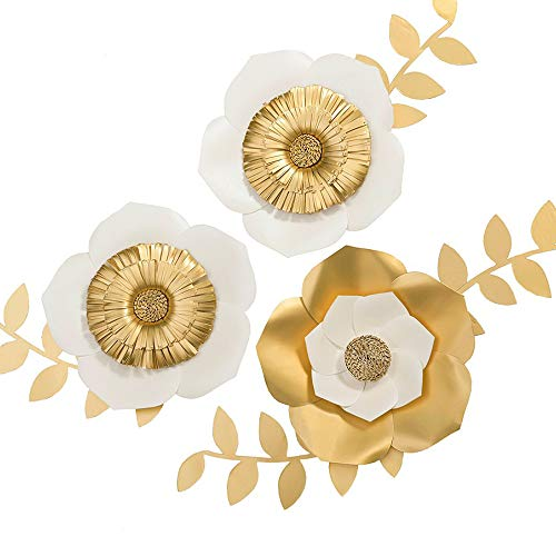 Ling's moment 3D Gold Paper Flower Decorations, Large Handmade Paper Flower Assortment, Paper Flowers for Wall, Nursery, Backdrop, Bridal Shower, Wedding, Gold Party, Centerpiece, 8