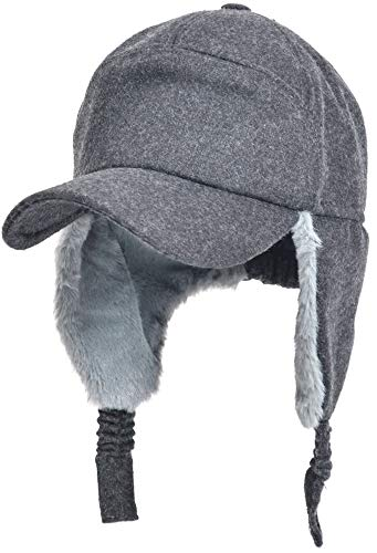 Womens Mens Winter Warm Premium Wool Woolen Peaked Baseball Cap With Faux Fur Fold Earmuffs Earflap Windproof Hat Visor Cap, Multicolor ()