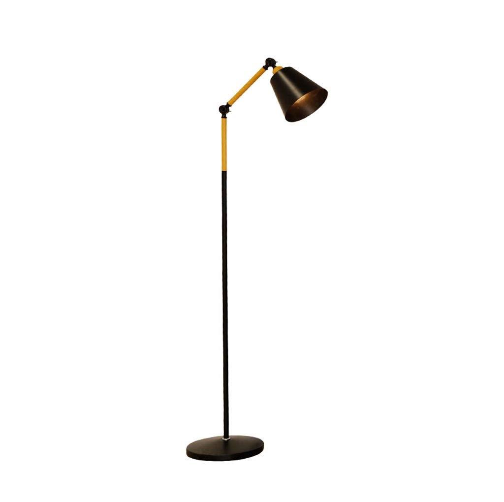 $フロアランプ フロアランプled現代のミニマリストのリビングルームの寝室の研究ベッドサイド垂直アイプロテクション釣りランプ調節可能な黒18ワット暖かい光 フロアランプ B07RQSF9XJ