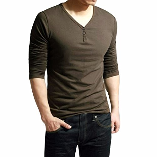 Realdo Clearance Sale,Mens Casual Henley Shirt V Neck Long Sleeve Solid Button Tops T-Shirt(Large,Coffee)