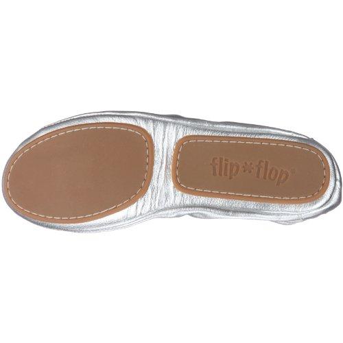 Flip Flop apparel Pure Ballet 20285 - Bailarinas de cuero para mujer, color dorado, talla 37 Plateado