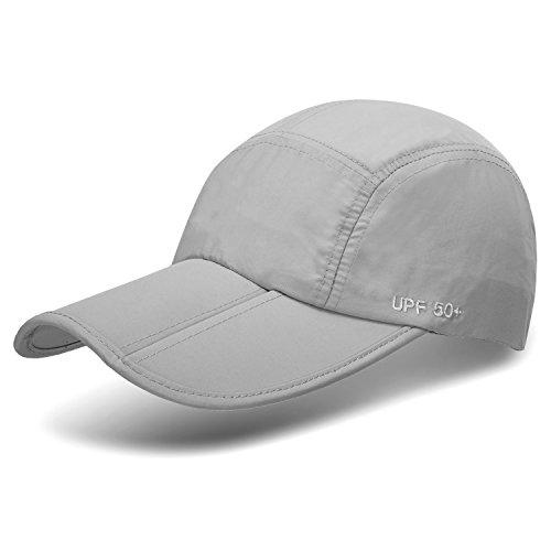 Unisex Foldable UPF 50+ Quick Dry Baseball Cap with Long Bill Portable Sun Hats, Gray