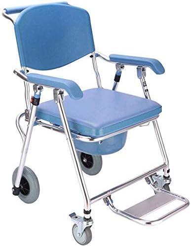 TIN-YAEN Badezimmer Rollstühle, Wheeled WC-Sitz Elderly WC Rollstuhl behinderte Mobiltoilette Sitz Folding WC...